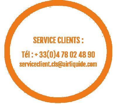 Image des contacts du SAV : +33(0)4 78 02 48 90 / serviceclient.cls@airliquide.com